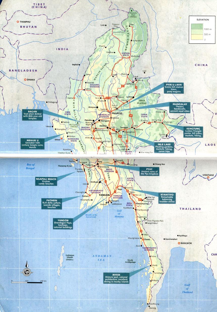 Map Of Myanmar Burma - Map of burma